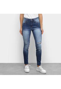 Calça Jeans Skinny Malwee Destroyed Feminina - Feminino-Marinho