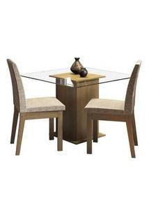 Conjunto Sala De Jantar Madesa Rosi Mesa Tampo De Vidro Com 2 Cadeiras Rustic/Fendi Rustic