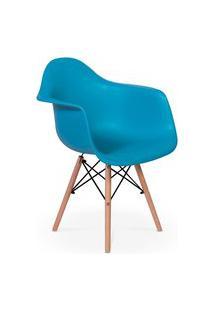 Cadeira Charles Eames Wood Daw Com Braços - Design - Turquesa