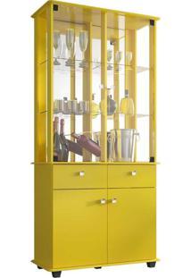 Cristaleira 04 Portas 02 Gavetas Móveis Bechara Verona Amarelo