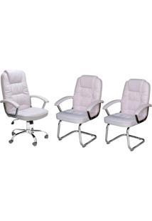 Conjunto Com 3 Cadeiras De Escritório Finland Branco