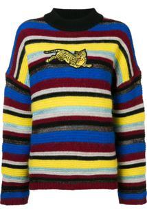 Kenzo Suéter Listrado Com Patch - Amarelo