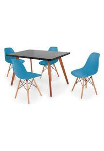 Conjunto Mesa De Jantar Gih 120X80Cm Preta Com 4 Cadeira Eames Eiffel - Turquesa