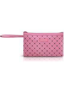 Necessaire Com Alça Tam. P Estampa Coração Jacki Design Pink Lover Rosa