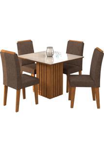 Conjunto De Mesa Para Sala De Jantar Ana Com 4 Cadeiras Milena-Cimol - Savana / Off White / Cacau