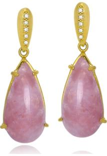 Brinco Le Diamond Pedra Natural Quartzo Rosa - Rosa - Feminino - Dafiti