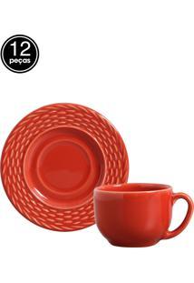 Jogo De Xícaras De Chá 12 Pçs Bali Vermelho Porto Brasil