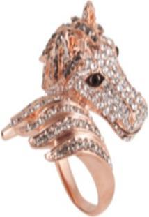 Anel Cavalo Com Zircônias Banhado A Ouro Rose - Helena Massa - Feminino-Rosa Claro