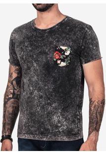 Camiseta Preta Marmorizada Bolso Floral - 101997