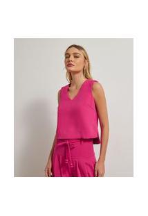 Blusa Lisa Em Crepe Sem Mangas Com Trançado Nas Alças | Atelier | Rosa | G