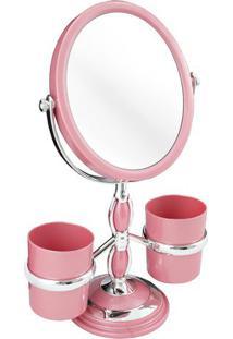Espelho De Bancada Com Suportes- Espelhado & Rosa- 3Jacki Design