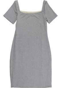 Vestido Curto Com Decote Quadrado Cinza