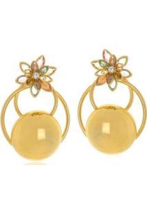 Brinco Le Diamond Ravena Com Flor Multicolorida - Feminino-Dourado