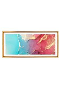 Quadro Com Moldura Chanfrada Abstrato Azul Com Rosa 50X115