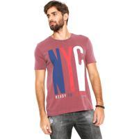 032ddf8d60bf0 Camiseta Calvin Klein Jeans Estampada Bordô