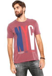 Camiseta Calvin Klein Jeans Estampada Bordô