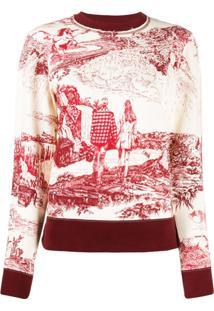 Chloé Suéter Toile De Jouy Decote Careca Com Estampa - Branco
