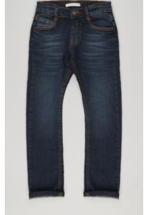 Calça Jeans Infantil Com Retalho Xadrez Azul Escuro