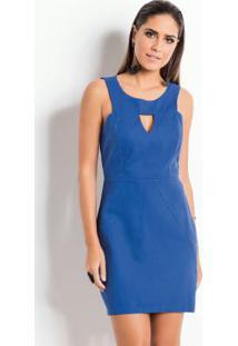 c0b910057 Posthaus. Vestido Quintess Azul Com Vazado No Decote