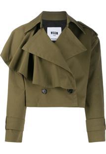 Msgm Asymmetric Ruffled Detail Jacket - Verde