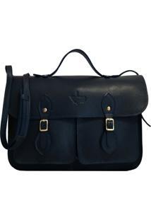 Bolsa Line Store Leather Satchel Pockets Pequena Couro Marinho. - Azul Marinho - Dafiti