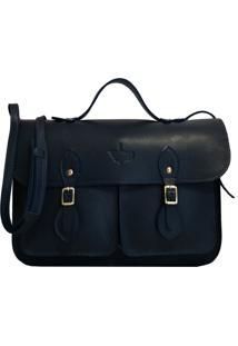 Bolsa Line Store Leather Satchel Pockets Pequena Couro Marinho.