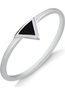 Anel Minimalista Com Triângulo Invertido Preto Em Prata - 1140000004980 12