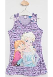 "Camisola ""Frozen® Com Recorte - Lilás & Azullupo"