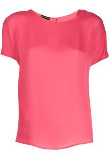 Emporio Armani Blusa De Seda Com Decote Arredondado - Rosa