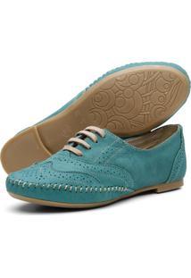 Sapato Oxford Casual Em Couro Yes Basic 15360 Azul Turquesa