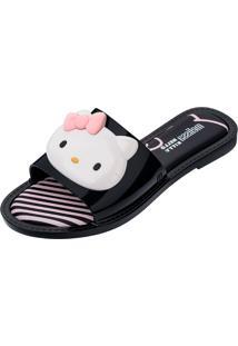 Chinelo Melissa Slipper + Hello Kitty Ad Preto/Branco