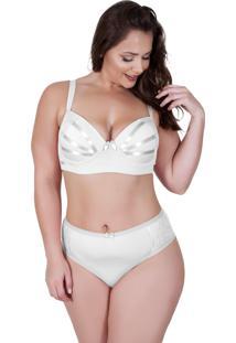 Conjunto Lingerie Gdm Modas Plus Size Reforçado Fitas Branco