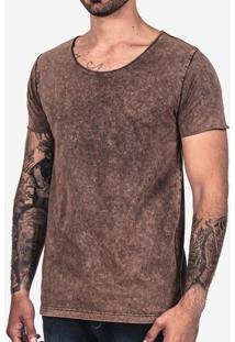 Camiseta Básica Chocolate Stone Gola Canoa 101930