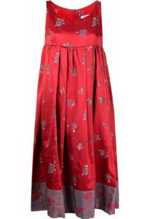 Comme Des Garçons Comme Des Garçons Vestido De Jacquard E Seda Com Padronagem Trançada - Vermelho