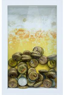 Quadro Porta Tampinhas De Cervejas Keep Calm Branco