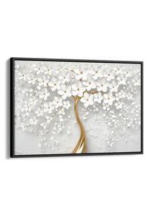 Quadro 60X90Cm Flores Cerejeiras Brancas E Dourada Canvas Moldura Flutuante Preta