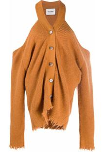 Nanushka Cardigan Com Abotoamento E Recorte Vazado - Laranja