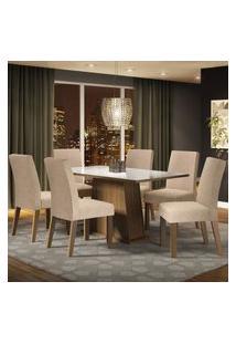 Conjunto Sala De Jantar Madesa Patricia Mesa Tampo De Vidro Com 6 Cadeiras - Rustic/Branco/Imperial Marrom