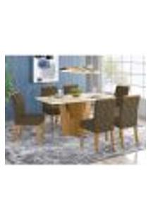 Mesa De Jantar Vértice 160Cm 6 Cadeiras Vita - Nature/Off White/Marrom Claro