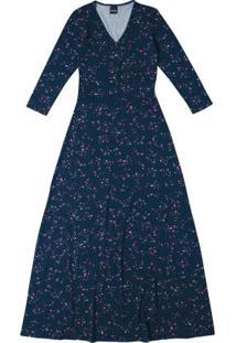 Vestido Azul Longo Com Transpasse
