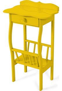 Mesa Lateral Apoio Sala Revisteiro Amarelo