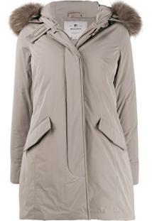 Woolrich Fur-Trimmed Hooded Zip-Up Coat - Neutro