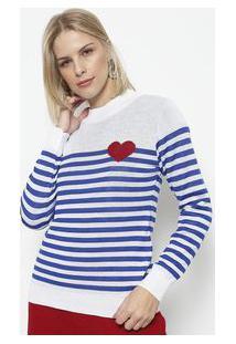 Ponto Aguiar Blusa Em Tricot Listrada Branca & Azul