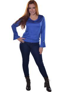 Blusa Carbella Manga Comprida Punho Acerto Azul