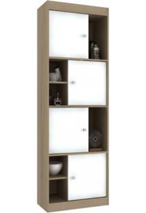 Conjunto Home Office Com Escrivaninha E Estante Para Livros Office Espresso Móveis Avelã Tx/Branco Tx
