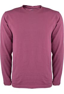 Camiseta Gajang Sem Costura Manga Longa Gola Redonda Vinho