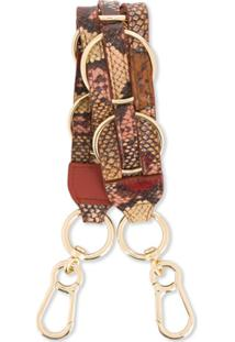 See By Chloé Snakeskin-Effect O-Ring Bag Strap - Marrom