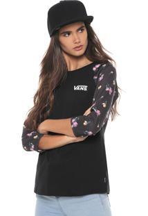 Camiseta Vans Vm Satin Floral Raglan Preta