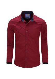 Camisa Masculina Assimétrico Manga Longa - Vinho