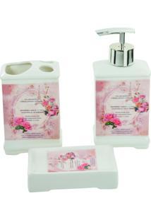 Kit Carisma Banheiro Com 3 Peças - Saboneteira Liquida Saboneteira Porta Escova - Retro - Porcelana